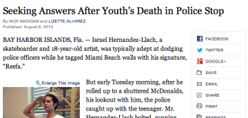 "Prejudice Against Art: ""Seeking Answers After Youth's Death in Police Stop"" – NYTimes.com"
